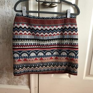 Indian Print Mini Textured Skirt